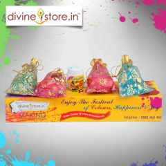 Divine Stores  Holi Box, contains 4 pouches of Gulal with Chandan Tika