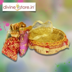 Holi Gift Basket , Contains 4 pouches Gulal with Chandan Tika