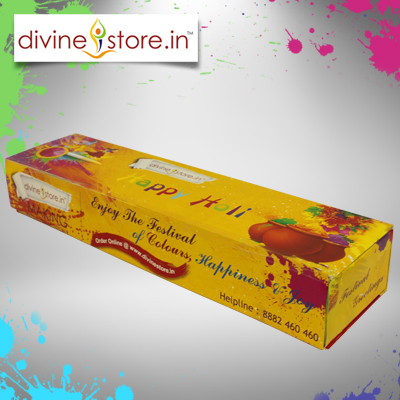 Divine Stores Premium Corporate Holi Gift Box contains 4 Gulal with  Chandan Tika